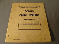 Vintage Bally Palm Springs Operating Instructions Parts Catalog
