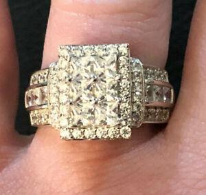 Sterling Silver Ring CZ Bella Luce Princess Ct BIG Cluster JTV Sz 8 5g 925 #1348