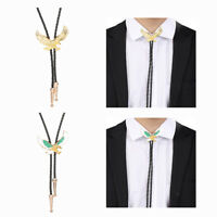 2Pcs Mens Metal Flying Eagle Bolo Tie Western Rodeo Shirt Necktie Leather Cord