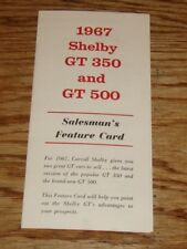 1967 Ford Shelby GT 350 GT 500 Salesman's Feature Card Brochure 67 Mustang