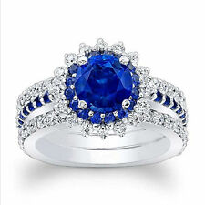 2.49 Ct Natural Diamond Natural Solitaire Blue Sapphire Ring 14K Real White Gold