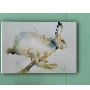 Canvas print of my original watercolour art painting of a running Hare