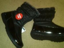 NEW LADIES BLACK WINTER BOOTS MEMORY FOAM; QUILTED AND TRIMMED WITH FAUX FUR 11