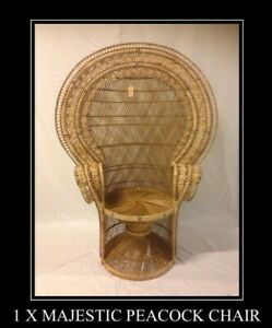NATURAL WICKER MAJESTIC DOUBLE WEAVE RETRO ADULT PEACOCK CHAIR