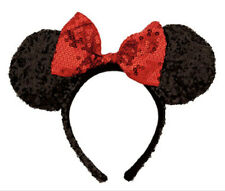 Euc Disney Minnie Mouse ears headband Red & Black sequined-Halloween costume