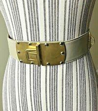 Vintage DONNA KARAN Grayish Leather Belt Gold Clasp Buckle Small