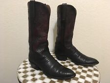 USA BLACK TWO TONE  LUCCHESE LIZARD WESTERN COWBOY DANCE RODEO BOOTS 8 B