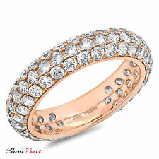 2.55 ct Simulated pave set Wedding Engagement Band Ring 14kt Rose Gold