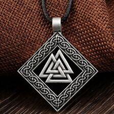 Cordón Trenzado Viking Valknut de Plata Tibetana Colgante Collar