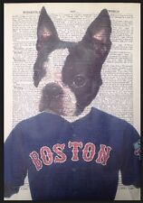 Boston Terrier Print Vintage Dictionary Page Wall Art Picture Dog Red Sox