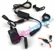 Doppia Presa USB Moto 12V Impermeabile Manubrio/Piastra Interruttore fusibile