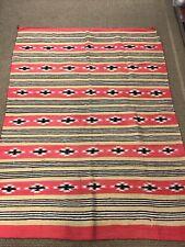 Vintage Very Old Hand Woven Navajo Blanket Rug 75�X 60�