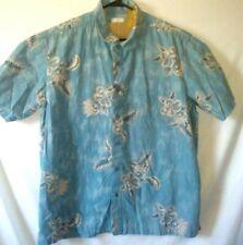 Trader Bay XXL Button Up Hawaiian Mens Shirt Sky Blue Floral Vintage