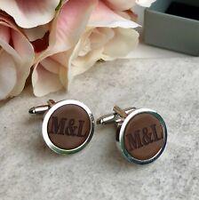 Personalised Initials Cufflinks Cordovan Leather 3rd Anniversary Wedding Gift