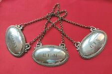 More details for vintage decanter label set x3 gin  rum  whisky silver plated great gift uk