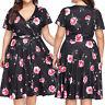 Fashion Women Casual Plus Size V-Neck Floral Print Bandage Short Sleeve Dress