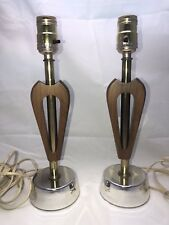 PAIR Vintage 60s Mid Century Teak Table Lamps Navis & Smith Co