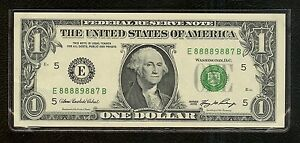 LUCKY MONEY COLLECTION-$1 Series 2006 Serial Number E 88889887 B - UNCIRCULATED