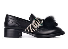 Prada Womens Black Leather Zebra Fur Tassel Crystal Buckle Oxfords 36/6 RTL$1550