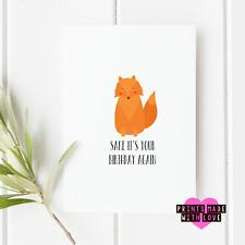 Fox sake | Funny birthday card | greetings card | blank inside | joke card