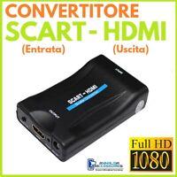 CONVERTITORE da SCART a HDMI TRASFORMATORE ADATTATORE COMPOSITO PER TV VIDEO HD