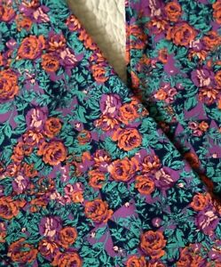 LuLaRoe Leggings OS Coral & Purple Roses Flowers on Aqua & Navy Blue VINTAGE FIT
