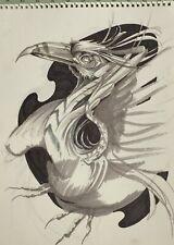 ORIGINAL ARTWORK FANTASY MONOCHROME BIRD MYSTERIOUS PHOENIX  by MORTIMER SPARROW