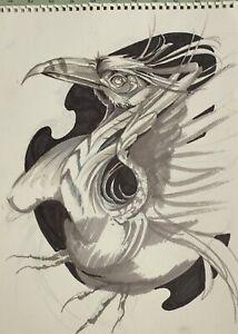 Original Kunstwerk Fantasie Monochrom Vogel Mysteriös Phoenix Von Mortimer Spatz