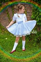 Halloween Girls Wizard of OZ Dorothy Birthday Party Dress Blue Lace Costume 2-7Y