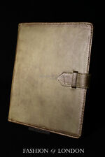 iPad 2 3 & 4 Olive Green Washed Lambskin Genuine Leather Cover Case Stand Folio