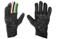 Guanti moto in pelle  PRO FUTURE nero con bandiera italiana sul dito