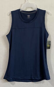Athletic Works womens tank top size S blue heathered yoke moisture wicking new