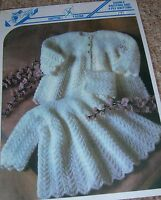 Laminated Knitting Pattern Baby's DK & 4Ply Patterned Dress & Coat