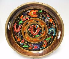 Vntg Mexican BATEA Folk Art Hand Crafted Painted Lacquered Tray w/ Handles 13