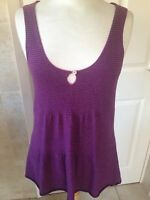 White Stuff Ladies Purple Striped Sleeveless Jumper Size 12. Good Condition.