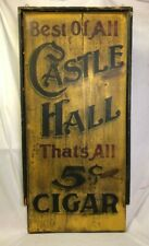 Antique Painted Wooden Castle Hall Cigar Folk Art Sign