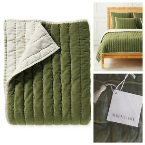 Serena and Lily Delwood Velvet Quilt Twin Grove Green NWT Retails $328