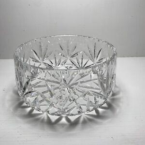 Vintage Heavy Deep Cut Crystal Glass Bowl Fruit Trifle Salad