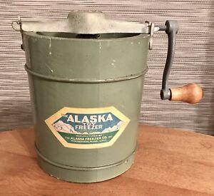 RARE Antique ALASKA TOY Ice Cream FREEZER One Pint Salesman Sample? Hand Crank