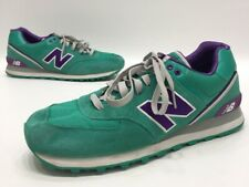 70dad4af58bbc New Balance 574 Mens Green/Purple Suede Athletic Training Shoes Size 13D