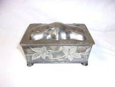 Antique Pipe & Tobacco Silver Plated Box Rockford Silver P. Co.     T*