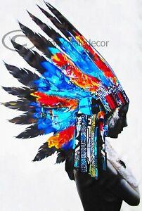 """Native Indian Girl War Bonnet Abstract Street Art Canvas Print  Blues 36"""""""