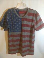 Brooklyn Cloth Mens Size Med American Flag Print T Shirt Red Gray Blue USA H15