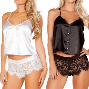 Women Lace Satin Silk Lingerie Cami Tops Thong Underwear Nightwear Sleepwear Set