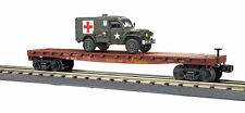 MTH  RailKing 30-76742 Union Pacific Flat Car With Dodge WC54 Ambulance O Gauge