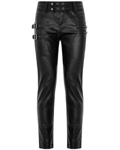 Punk Rave Mens Dieselpunk Gothic Biker Jeans Pants Black PU Faux Leather Coated