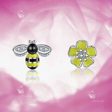 925 silver earrings simulated diamond buzzy bee flower stud kids girl cute