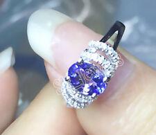 0.45ct ROUND DIAMOND BLUE SAPPHIRE 14K WHITE GOLD WEDDING ENGAGEMENT RING