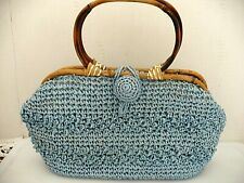 Ladies Vintage Purse Lined Bamboo Handles Made in Japan