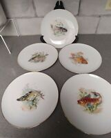 "5 SET Vintage JKW Joseph Kuba Fish Dinner Plates West Germany 9 5/8"" Gold Rim"